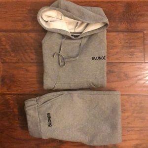 1 LEFT☀️BLONDE grey sweats/hoodie combo!